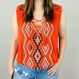Free People   Embroidered Lace Up Tank M Boho Red